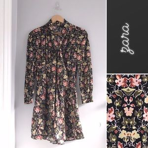 Zara Floral Necktie Tie Dress • XS